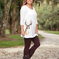 Cream white loose fitting Deer head tunic
