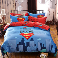 100% cotton 3/4pcs Superman cartoon boy/girl kids bedding set Bed Linen 3d bedding sets duvet cover bed sheet pillowcases Queen