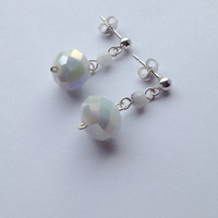 White Sterling Silver Earrings with Tourmalinate Quartzite Gemstone and Crystal Beads, Free Shipping within USA