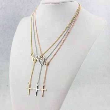 Symbol Of Infinity And Holy Cross With Lariat Style Chain
