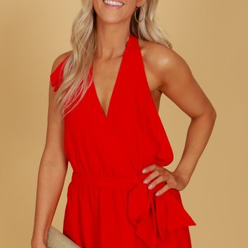 Plunging Wrap Romper Red