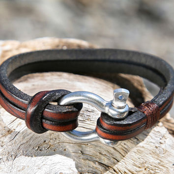 Brown Leather Bracelet with a Nautical Grade Omega Shackle Clasp