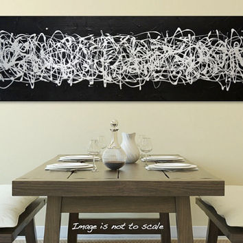"HUGE 48"" Original Abstract Acrylic Painting - Textured Black and White Modern Art - Midnight Rush III: Large 48 x 16 - FREE Shipping"
