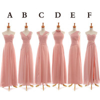 Bridesmaid Dress,Peach Bridesmaid Dresses,Simple Chiffon Bridesmaid Dress,Long Prom Dress