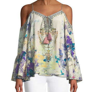 Camilla Printed Embellished Cold-Shoulder Silk Top