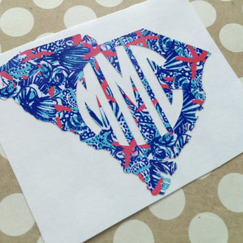 Lilly Pulitzer { Inspired }Monogrammed State Decal | Round Monogram  | Monogrammed State Car Decal |  Monogrammed Car Decal