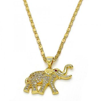 Gold Layered 04.199.0025.18 Fancy Necklace, Elephant Design, with White and Ruby Micro Pave, Polished Finish, Golden Tone