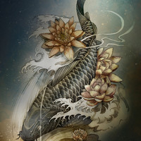 Koi and Lotus Art Print by Marine Loup