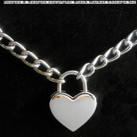 BDSM Submissive Chrome Chain and Heart Padlock Slave Day Collar Choker or Necklace SHIPS FAST