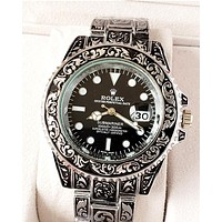 Rolex tide brand men and women models simple casual quartz watch Black