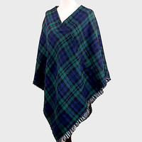 Plaid Reversible Poncho Green Navy