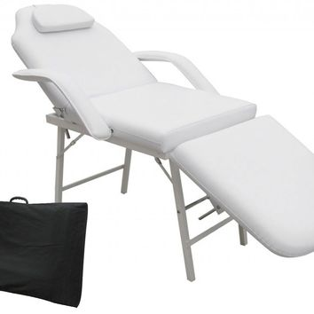 "73"" Portable Tattoo Parlor Spa Salon Facial Bed Beauty Massage Table Chair White"