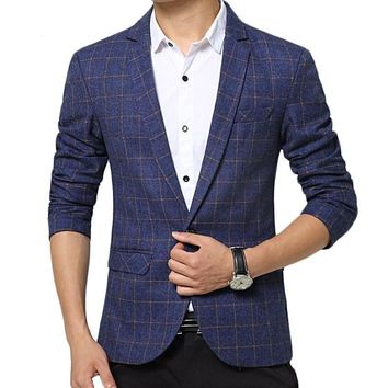 Men Blazer Fashion Plaid Design Suit Casual Slim Men  !!Free shipping!!