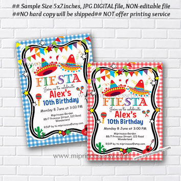 Mexican Fiesta Birthday invitation, Fiesta Party Birthday Invitation for any age, Whimsical design Colorful Festive birthday - card 475