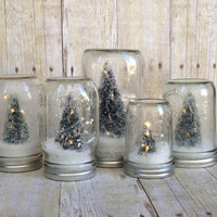 Mason Jar Snow Globe - Tree with LED Lights (Pint Size)