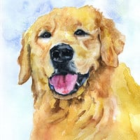 Golden Retriever Original Watercolor Painting - Yellow Lab Golden Retriever - Dog Painting 9 x 12