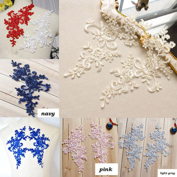 4Pcs=2Pairs 25*12.5cm Embroidered Lace Applique Lace Trim For DIY Wedding Dress Off white Red Black Navy Pink Light Gray Color