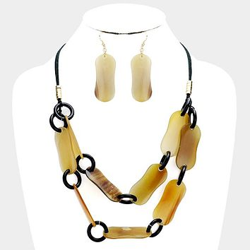 Double Strand Natural Horn Link Collar Necklace