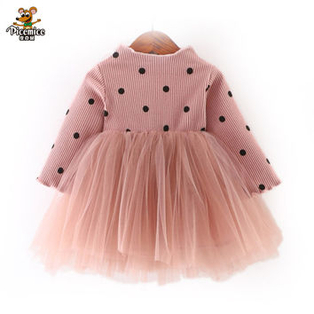 Retail 2017 Autumn Winter Girls Dress Children Long Sleeve Dot Dress Princess Dress baby Warm thickening dresses