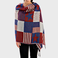 Oversized American Flag Stripe Poncho Knit Fringed Trim Blanket Scarf - Red