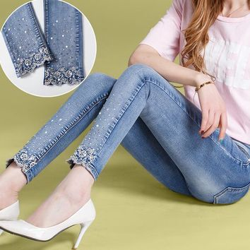 2017 New spring autumn Women lace Rhinestone Jeans denim Pencil Pants stretchy denim nine pants T857