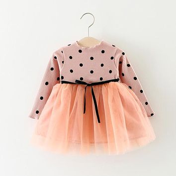 Autumn Long Sleeve Baby Dot Polka Knitted Party Girls Kids Mesh Patchwork Dresses, Princess Infants Tutu Dress Vestido S5523