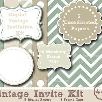 Vintage Digital Paper, Invitations Kit Scrapbooking Frames Rustic Green Paper, Party Digital Paper Instant Download