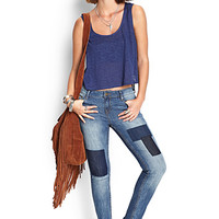FOREVER 21 Prairie Patchwork Skinny Jeans Denim/Dark Denim