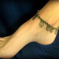 FREE Anklet-Buy 2 Get 1 FREE-Sexy Summer Anklet - Dangling Leaves in Antique Bronze