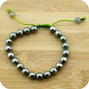 Faceted Pyrite Yoga Bead Bracelet with Labradorite