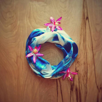 Turquoise Tie Dye Silk Summer Scarf Or headband Blue beach women's accessories boho beach babe