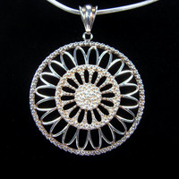 Sterling Silver Pendant, Milor Italy, Sterling Snake Chain, Vintage Necklace, Flower Pendant, 925 Silver, Circle Pendant, Vintage Jewelry