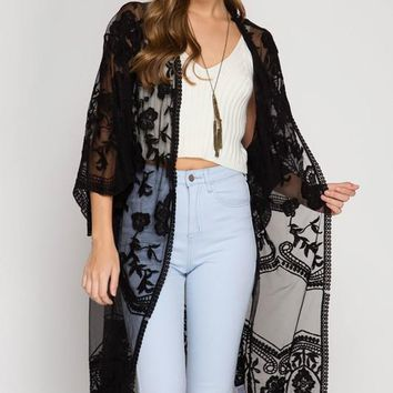 Duster Length Lace Cardigan - Black