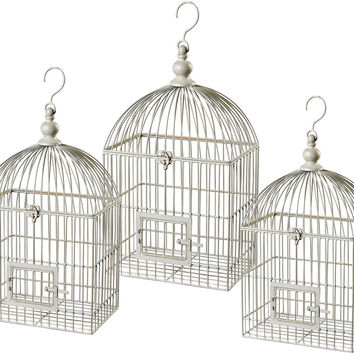 "0-028103>28""h Vintage Decorative Bird Cage White"