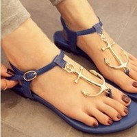 Ocean Navy Style Anchor Thong Sandals