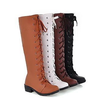 Cross Straps Tall Motorcycle Boots Shoes for Women 5535