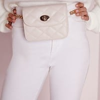 Missguided - Quilted Chain Waist Bag White