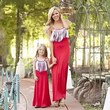 Mother Daughter Dress Family Matching Clothes Red Solid Long Sleeve Mom and Daughter Dress Family Look Mom Daughter Clothes
