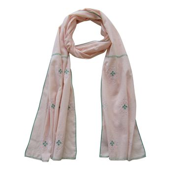 Embroidered Scarf : Pastels: PEACH