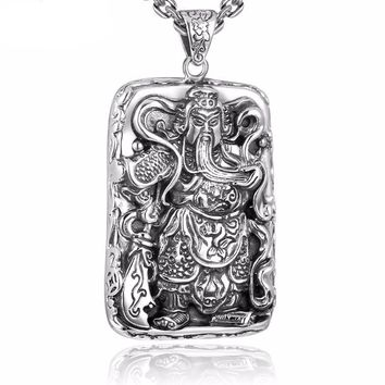 925 Sterling Silver Pendants For Men Guan Yu Hero Good Pray Necklace Guys Buddha Pendant Vintage Chinese Culture Jewelry