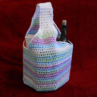 Crochet Market Bag - tote bag, reusable, 100% cotton in Sweet Pea Stripes
