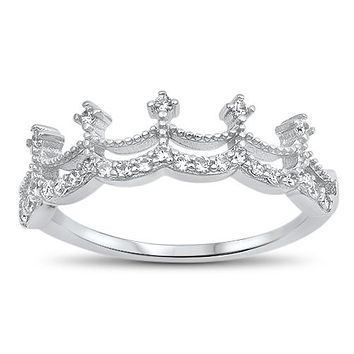 The Crown, a perfect .75TCW Russian Lab Diamond Promise Engagement Wedding Band Ring
