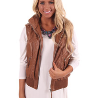 Brown Vest with Faux Fur Lining