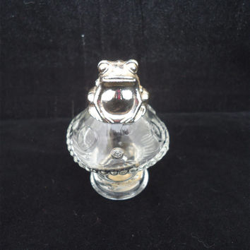Vintage Frog Sitting on Mushroom Perfume Bottle, Avon Frog Perfume Decanter