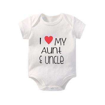 Culbutomind New Cute I Love Aunt Uncle White Short Sleeve Cotton Baby Bodysuit Baby Unisex Clothes Jumpsuits for Nb-12M