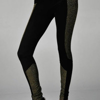 BLACK GLAM LUREX CUTOUT LEGGINGS