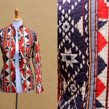 Vtg Quilted jacket blazer bright Southwestern pattern button up Fitted  Navajo Aztec red blue bamboo buttons