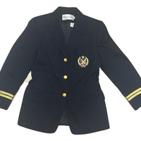 Vintage preppy blazer women clothing emblem jacket coat