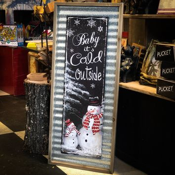 Baby It's Cold Outside Rustic Wood & Metal Snowman Wall Art