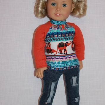 18 inch doll clothes, elephant print long sleeve shirt, dark blue ripped skinny jeans, Upbeat Petites